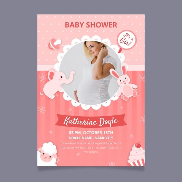 Plantilla de invitación de ducha de bebé niña con foto Vector Premium
