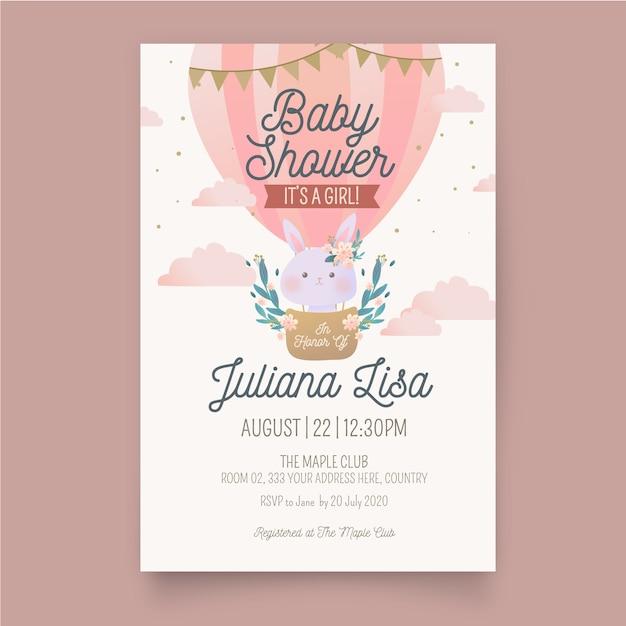 Plantilla de invitación de ducha de bebé niña Vector Premium