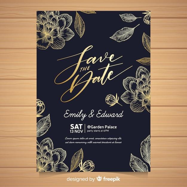 Plantilla de invitación elegante de boda vector gratuito