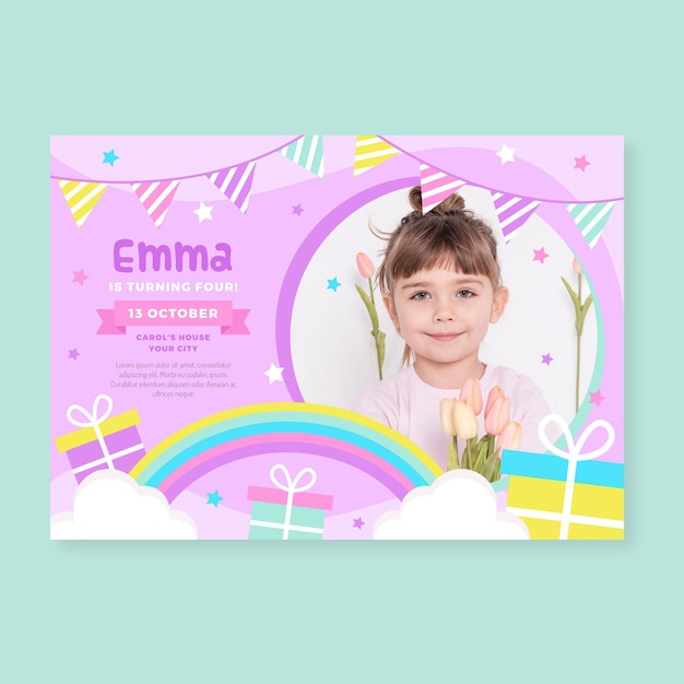 Plantilla de invitación de feliz cumpleaños para niños vector gratuito