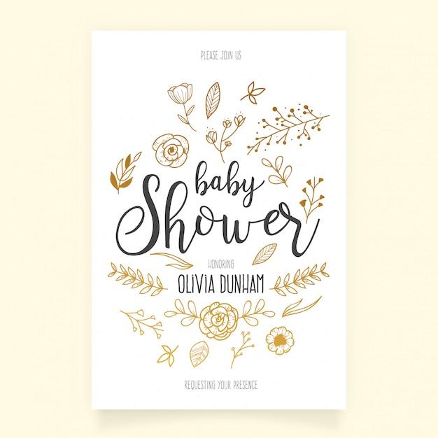 Plantilla de invitación de la fiesta de bienvenida al bebé con adornos dibujados a mano vector gratuito