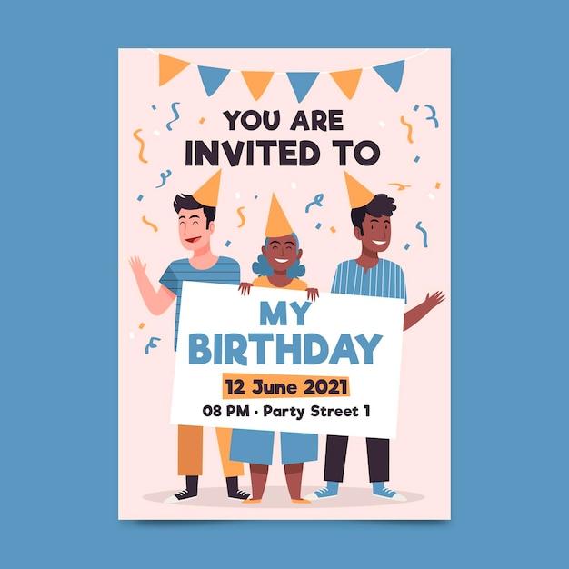 Plantilla de invitación de fiesta de cumpleaños ilustrada vector gratuito
