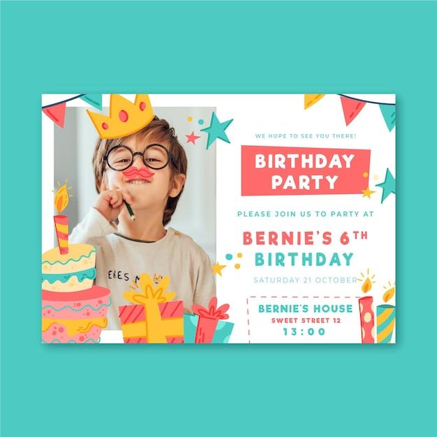Plantilla de invitación de fiesta de cumpleaños vector gratuito