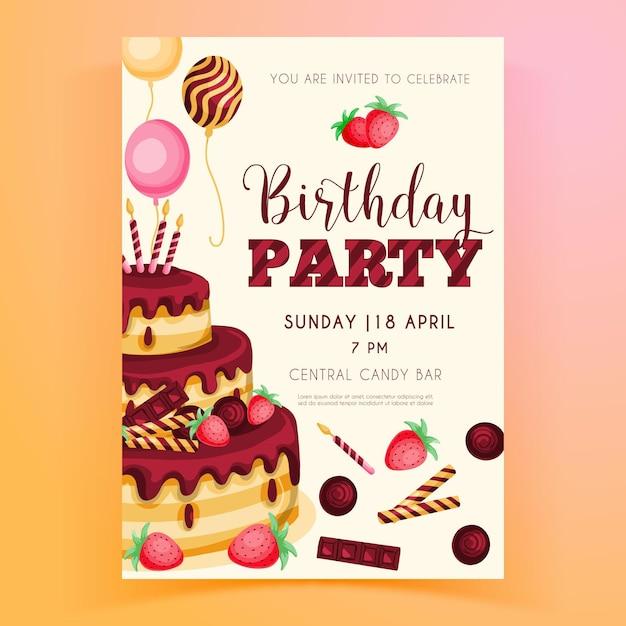 Plantilla de invitación de fiesta de cumpleaños Vector Premium