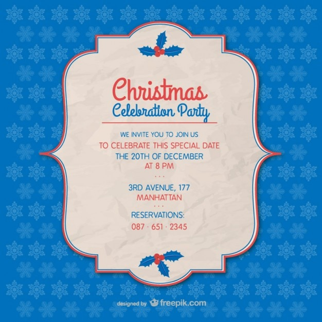 Plantilla De Invitación De Fiesta De Navidad Vector Gratis