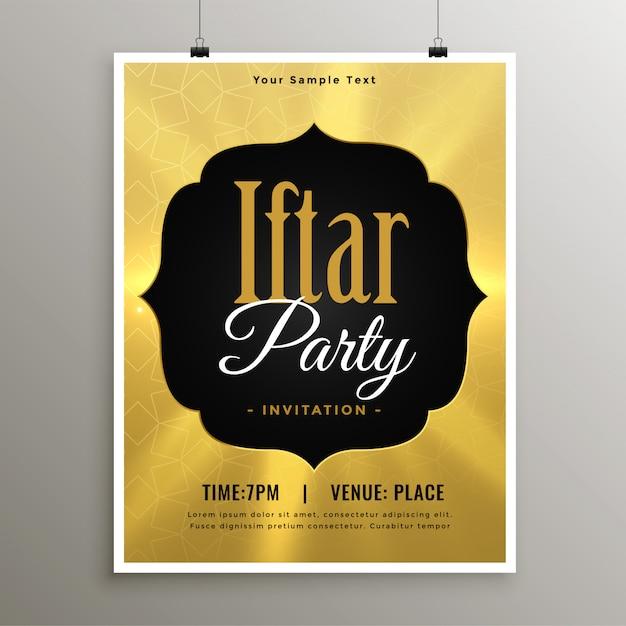 Plantilla de invitación de la fiesta de oro iftar ramadán vector gratuito