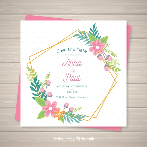Plantilla de invitación floral de boda vector gratuito