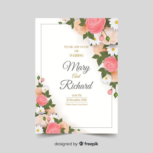 Plantilla de invitación floral y elegante de boda vector gratuito
