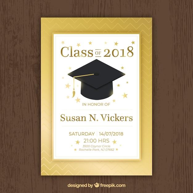 Plantilla De Invitación De Graduación En Color Dorado