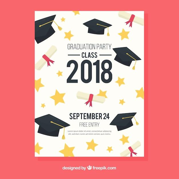 Plantilla de invitación de graduación con diseño plano vector gratuito