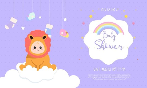 Plantilla de invitación para ilustración de diseño de ducha de bebé niño Vector Premium