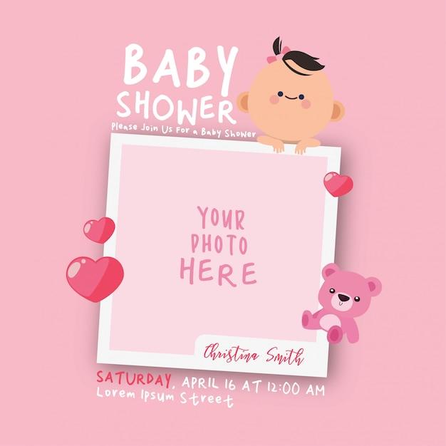 Plantilla de invitación de marco de decoraciones de baby shower de kawaii Vector Premium