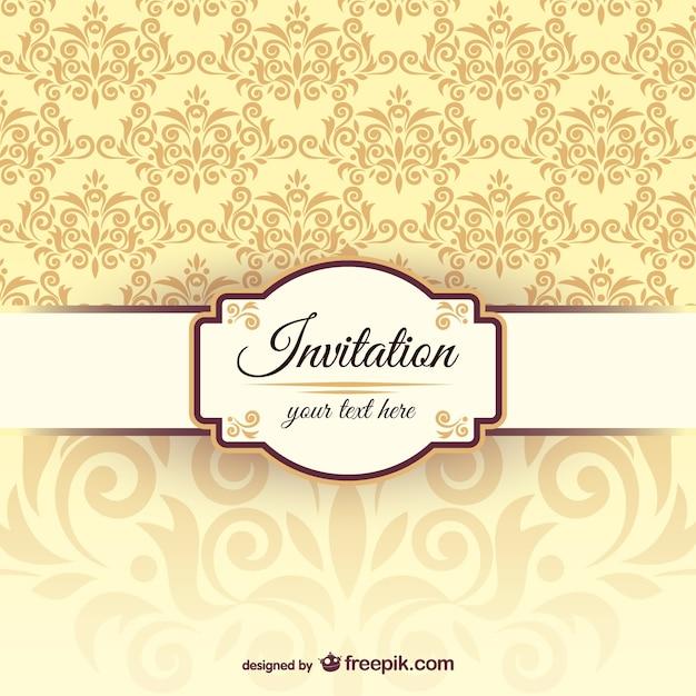 Plantilla de la invitación con patrón arabesco vector gratuito
