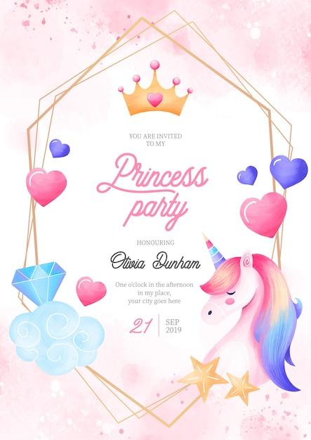 Plantilla de invitación de princesa encantadora fiesta con elementos de fantasía vector gratuito
