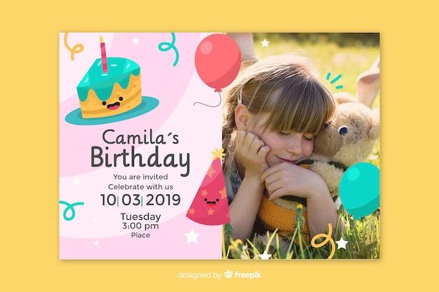 Plantilla De Invitación De Tarjeta De Cumpleaños De Bebé