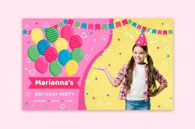 Plantilla de invitación de tarjeta de cumpleaños para niños vector gratuito