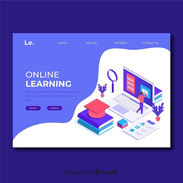Plantilla isométrica de landing page de educación online vector gratuito