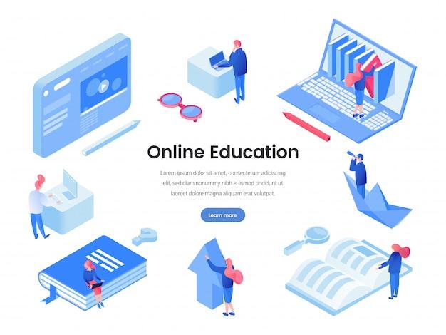 Plantilla isométrica de página de inicio de educación en línea Vector Premium