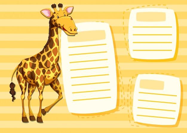 Plantilla de jirafa en nota. vector gratuito