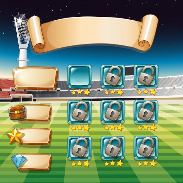 Plantilla de juego con campo de fútbol vector gratuito
