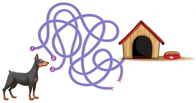Plantilla de juego de mesa con perro encontrando hogar vector gratuito