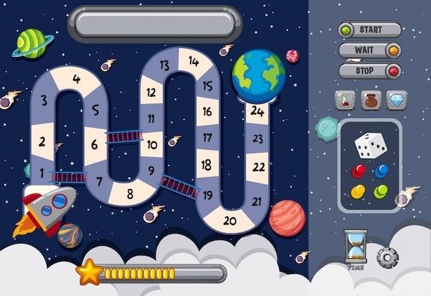 Plantilla de juego con muchos planetas Vector Premium