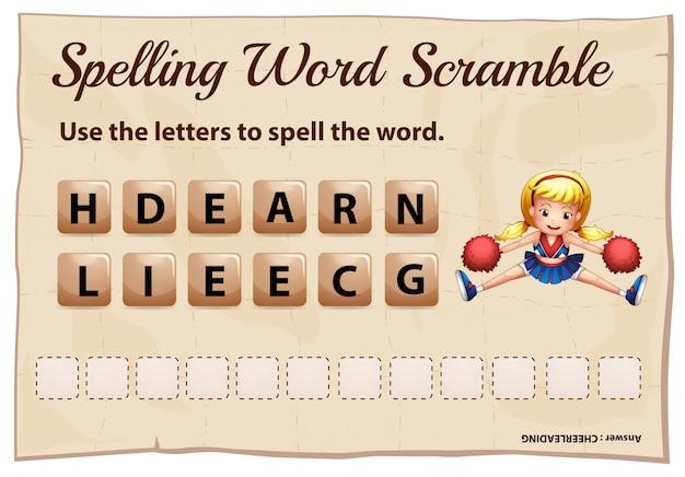 Plantilla de juego de ortografía scramble para porristas vector gratuito