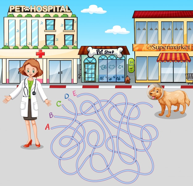 Plantilla de juego con veterinario y mascota en el hospital. vector gratuito
