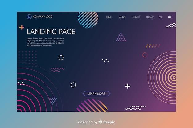 Plantilla de landing page abstracta con formas geométricas vector gratuito