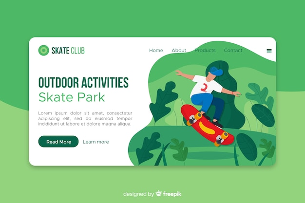 Plantilla de landing page de actividades al aire libre vector gratuito