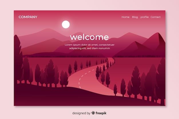 Plantilla de landing page de bienvenida con paisaje vector gratuito
