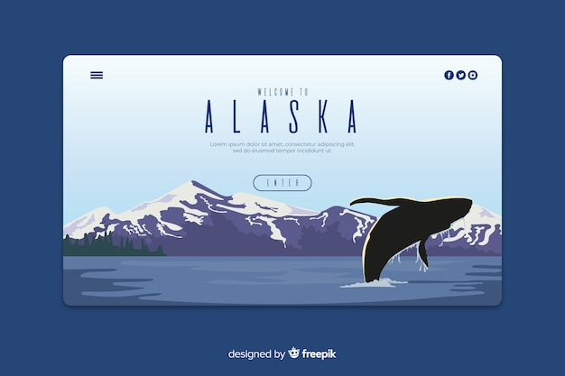 Plantilla de landing page de bienvenido a alaska vector gratuito