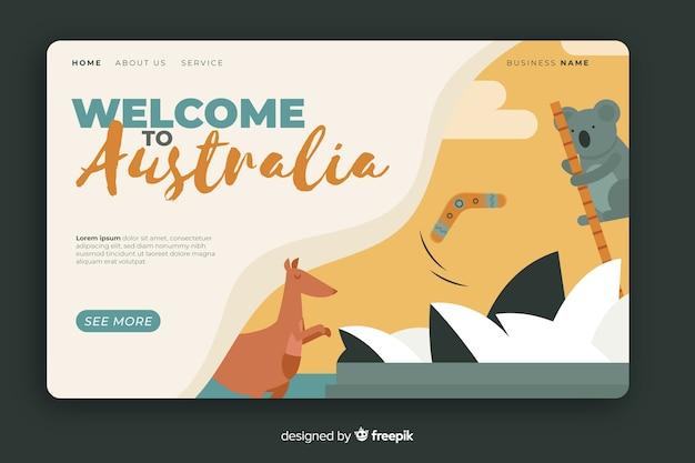 Plantilla de landing page de bienvenido a australia vector gratuito