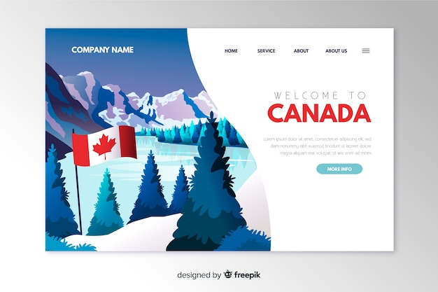 Plantilla de landing page de bienvenido a canadá vector gratuito