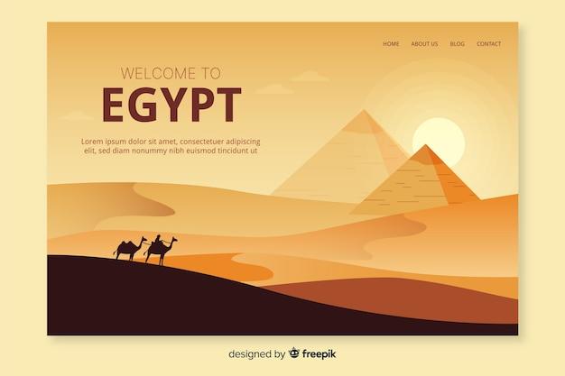 Plantilla de landing page de bienvenido a egipto vector gratuito