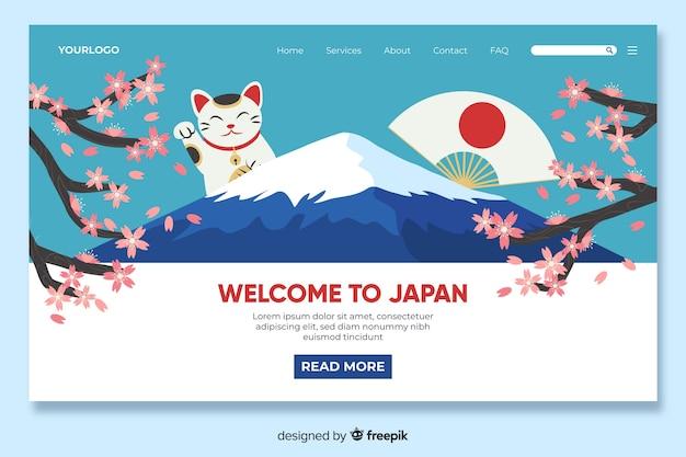 Plantilla de landing page de bienvenido a japón vector gratuito