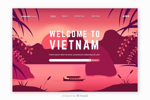 Plantilla de landing page de bienvenido a vietnam vector gratuito