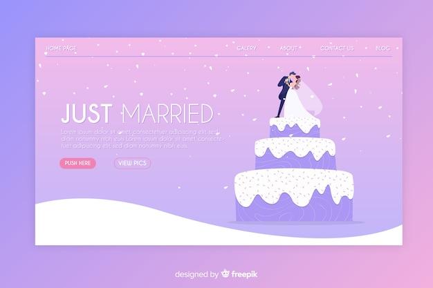 Plantilla de landing page de boda en diseño plano vector gratuito