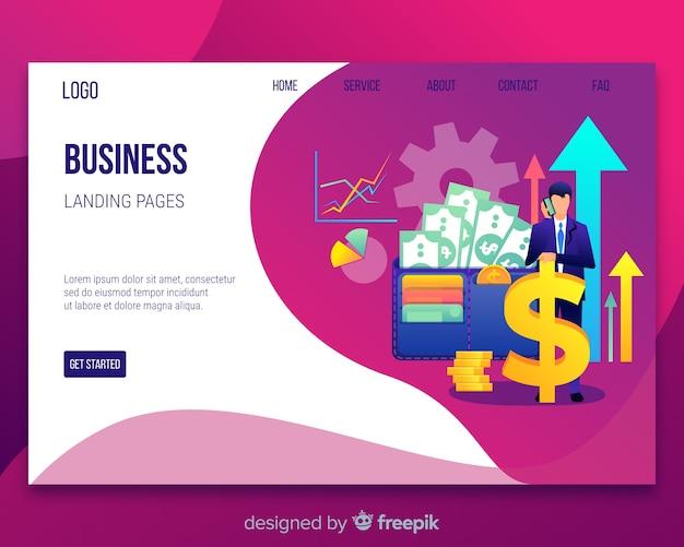 Plantilla de landing page de concepto de negocios vector gratuito
