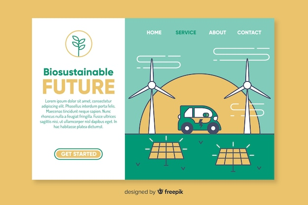 Plantilla de landing page para conceptos ecológicos vector gratuito
