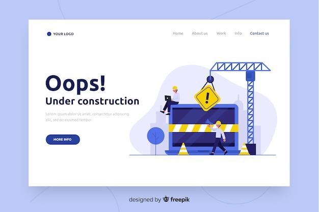 Plantilla de landing page en construcción vector gratuito
