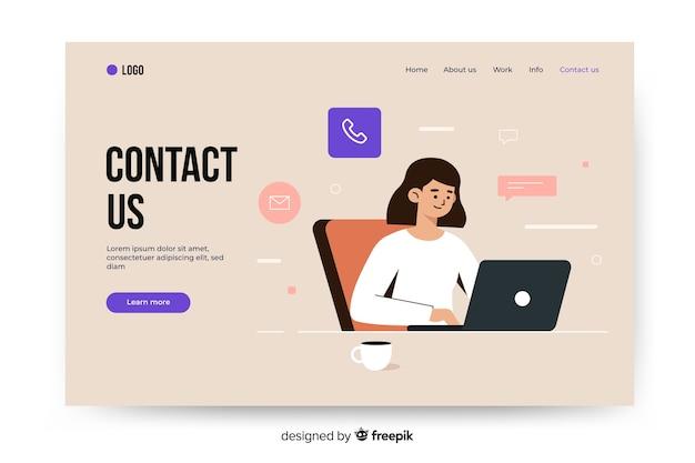 Plantilla de landing page de contacto vector gratuito