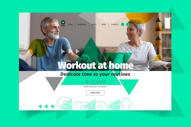 Plantilla de landing page de deporte en casa vector gratuito