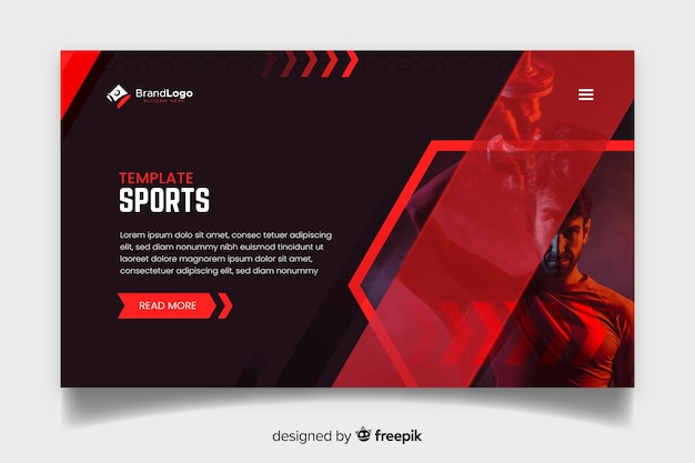 Plantilla de landing page de deporte con foto vector gratuito