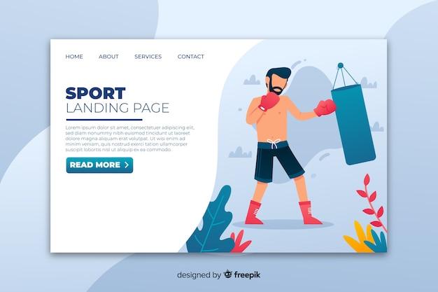 Plantilla de landing page de deporte vector gratuito