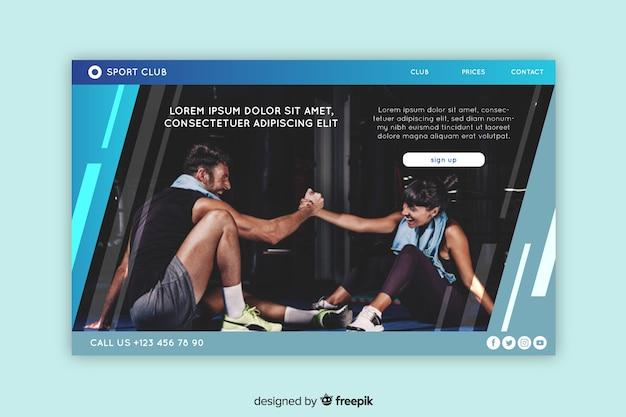 Plantilla de landing page de deportes con foto vector gratuito