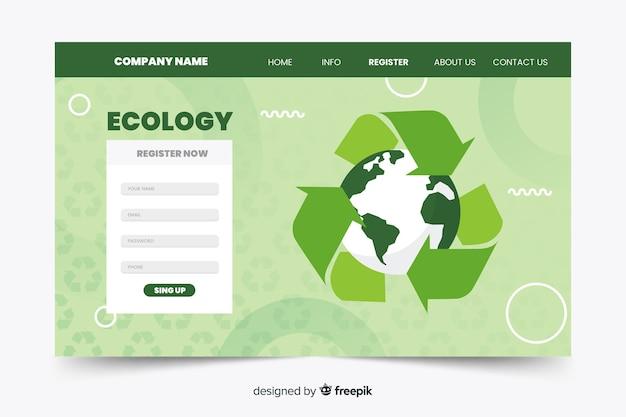Plantilla de landing page de ecología en diseño plano vector gratuito