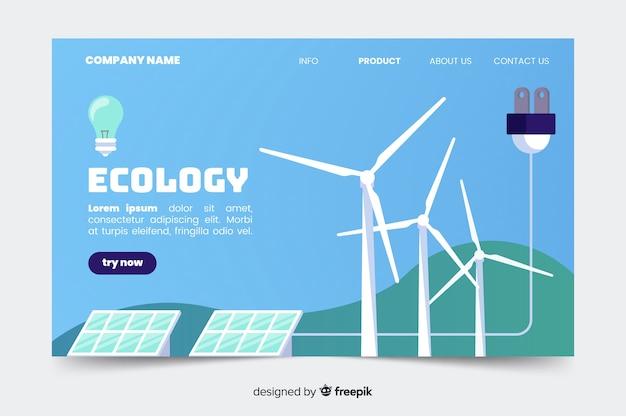 Plantilla de landing page de ecología en diseño plano Vector Premium
