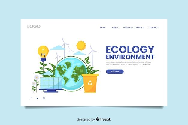 Plantilla de landing page de ecología vector gratuito