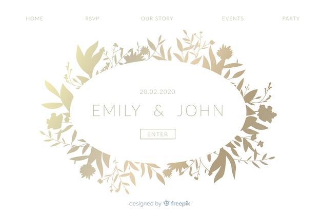 Plantilla de landing page elegante de bodas vector gratuito